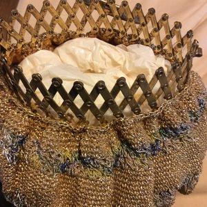 Vintage Bags - Vintage 1910 Gold Mesh Wristlet Pouchette